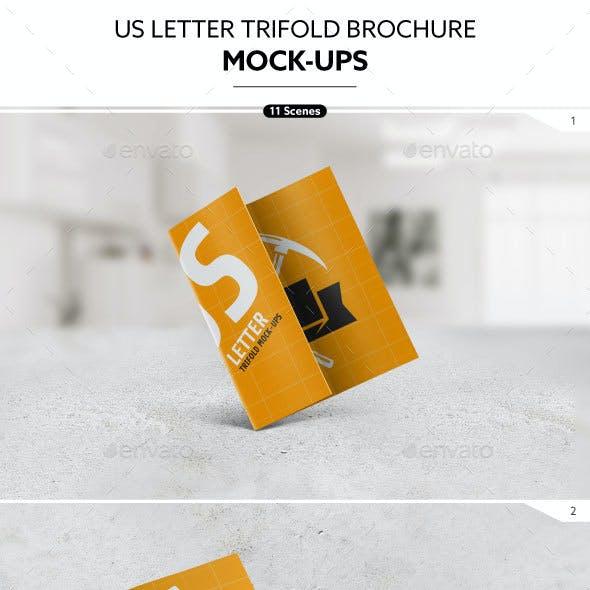 US Letter Trifold Brochure Mock-Ups