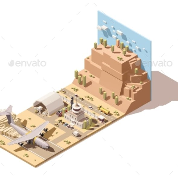 Isometric Low Poly Desert Airport Terminal