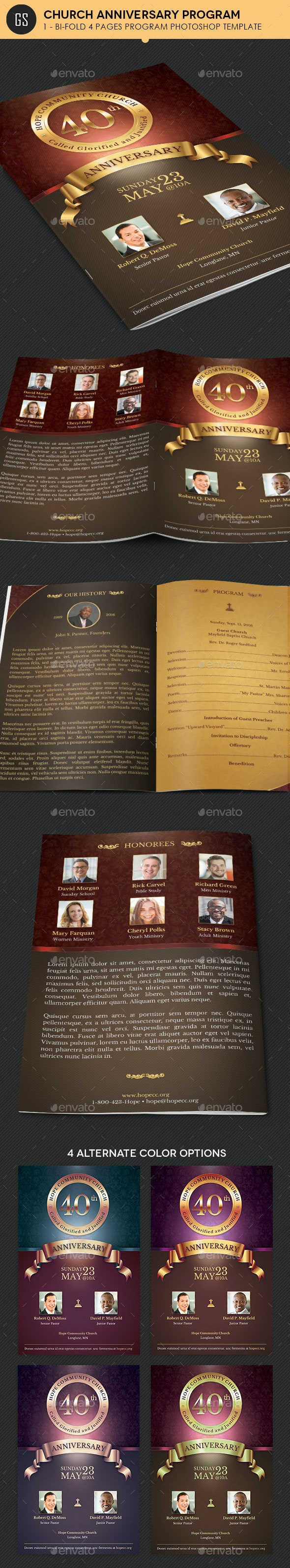 Church Anniversary Program Template - Informational Brochures