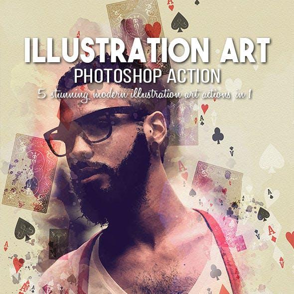 5-in-1 Illustration Art Photoshop Action