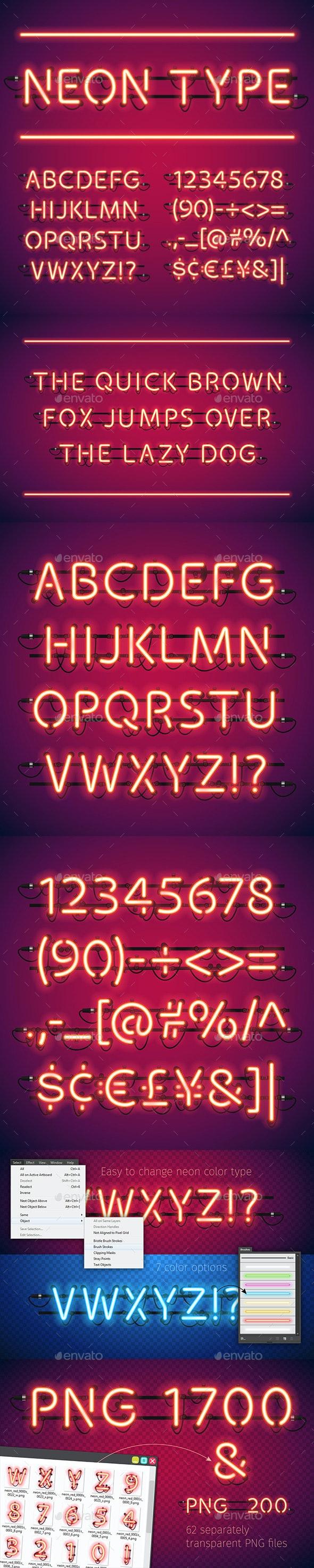 Glowing Neon Bar Alphabet - Decorative Symbols Decorative