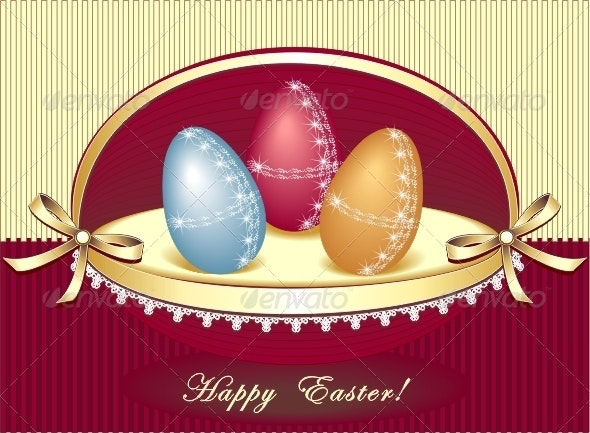 Easter eggs in beautiful box  -  king present - Seasons/Holidays Conceptual