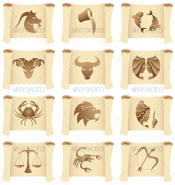 grunge Zodiac Signs on manuscripts - Animals Characters