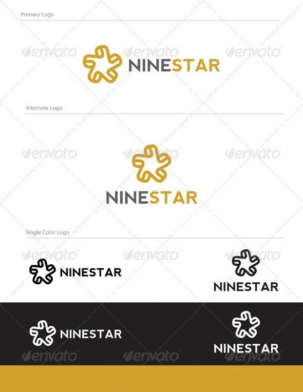 Nine Star Logo Design - NUM-002 - Numbers Logo Templates