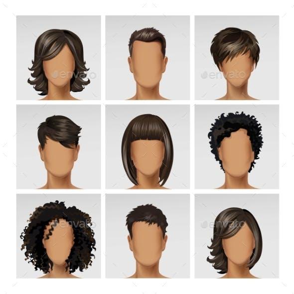 Multinational Male Female Face Avatar Profile
