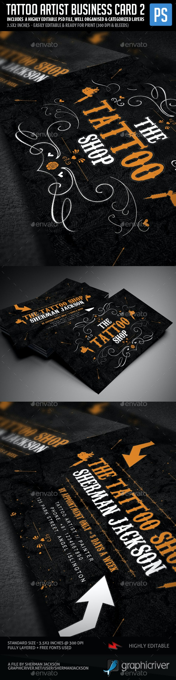 Tattoo Artist Business Cards V.2 - Industry Specific Business Cards