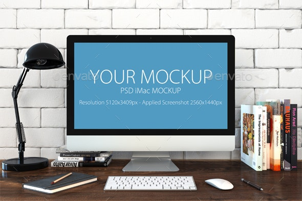 Mac Mock-up in Loft Style - Monitors Displays