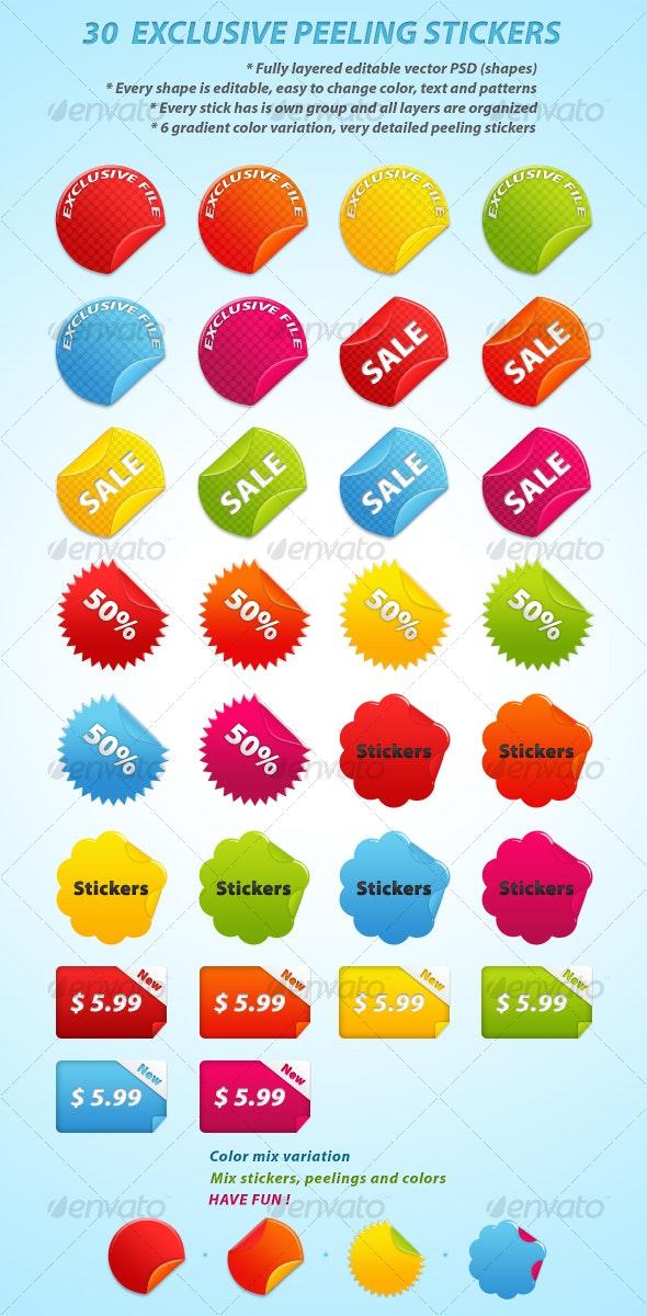 30 EXCLUSIVE PEELING STICKERS - Web Elements
