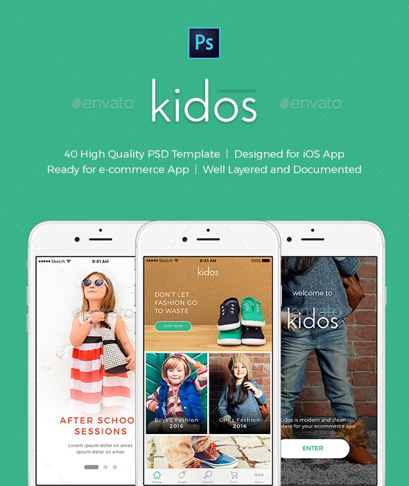 Kidos - Kids Clothing iOS UI Kit PSD - User Interfaces Web Elements