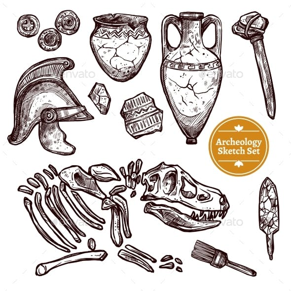 Archeology Hand Drawn Sketch Set