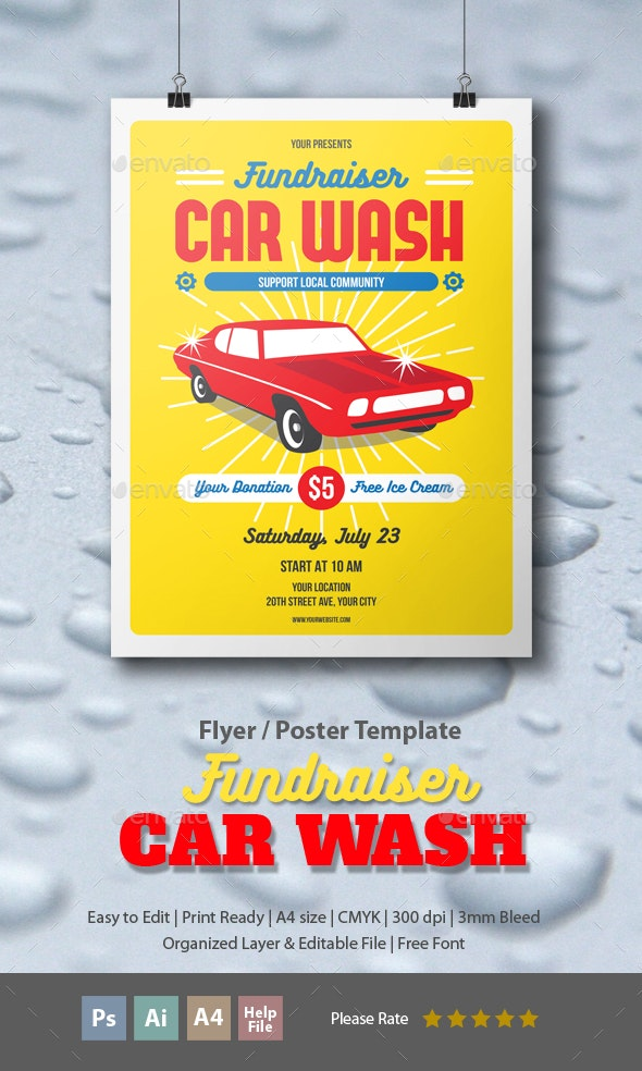 Fundraiser Car Wash - Events Flyers