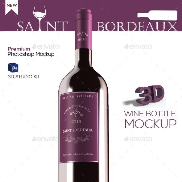 Saint Bordeaux - 3D Wine Bottle Mockup