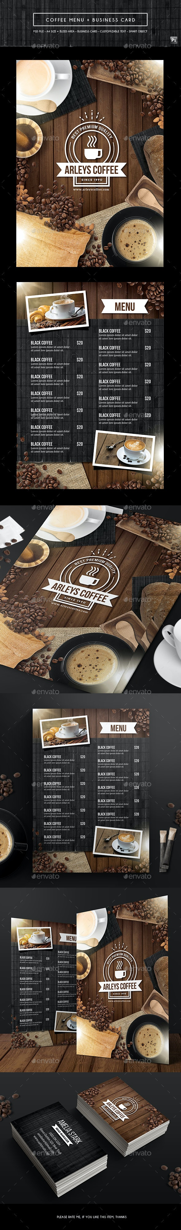 Coffee Menu + Business Card - Food Menus Print Templates