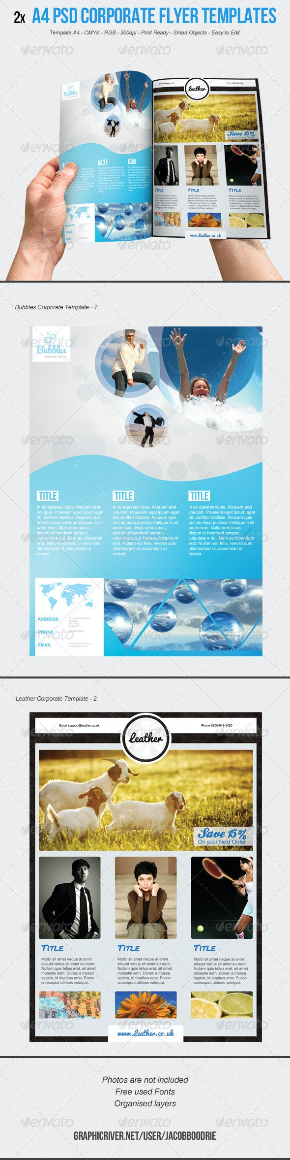2x A4 Corporate Flyer Template - Corporate Flyers