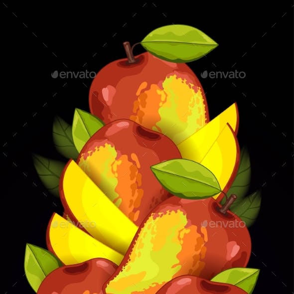 Fruit Mix With Leaves On Black Background