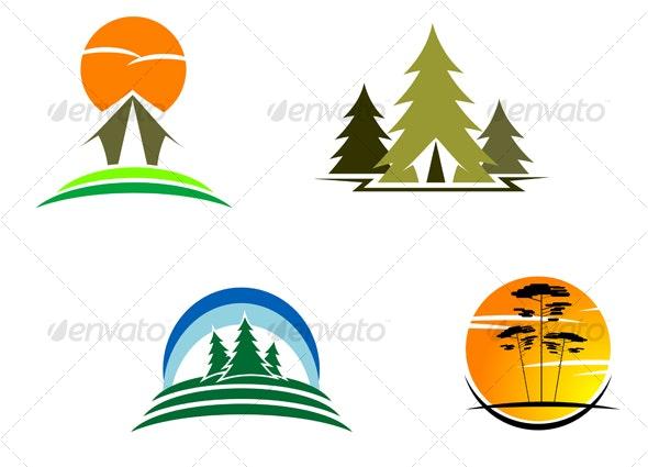 Travel and tourism symbols - Decorative Vectors