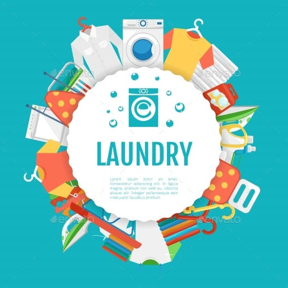 Laundry Service Poster Design. Icons Circle Label