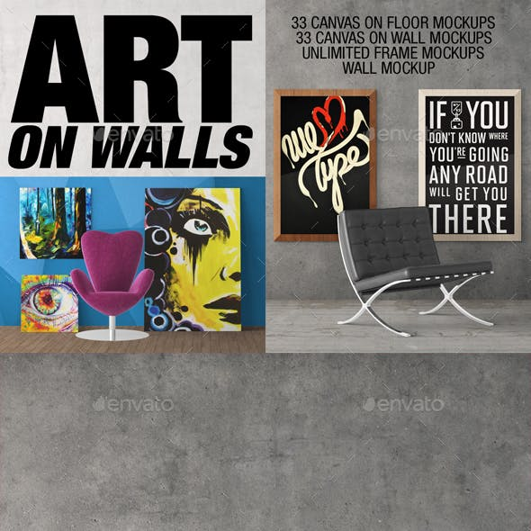 Art On Walls - Canvas Mockups - Frame Mockups - Wall Mockups