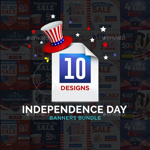 Fourth Of July Banners Bundle -10 Sets - 180 Banners