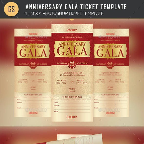 Anniversary Gala Ticket Template