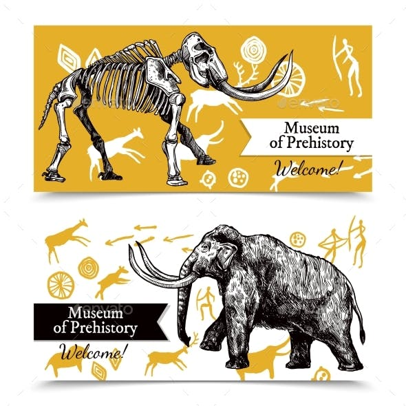 Sketch Hand Drawn Mammoth Banners