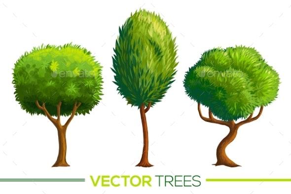 Green Vector Cartoon Style Trees Set - Seasons Nature