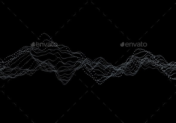 Abstract 3D Rendering Of Waves With Particles. - 3D Backgrounds