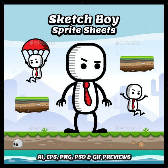 Sketch Boy Game Character Sprite Sheets
