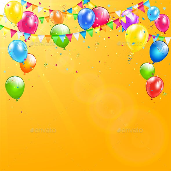 Colorful Birthday Balloons And Pennants On Orange Background