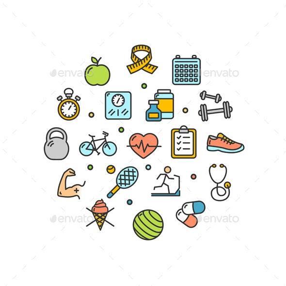 Fitness Health Life Round Design Template Thin Line Icons - Health/Medicine Conceptual