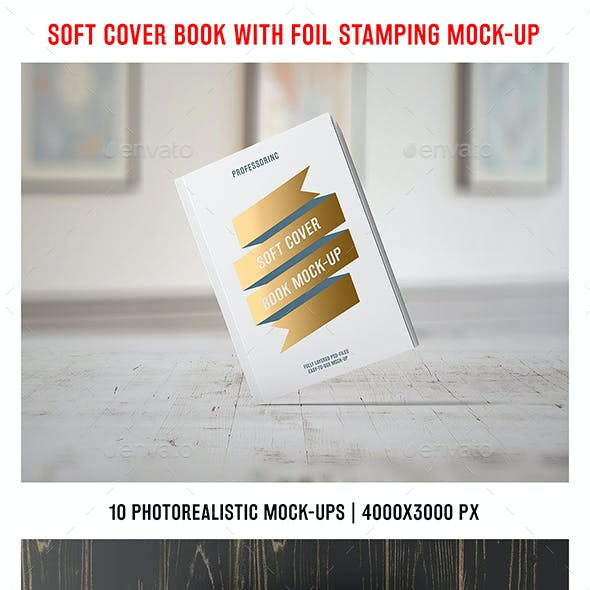 Soft Cover Book With Foil Stamping Mock-Up