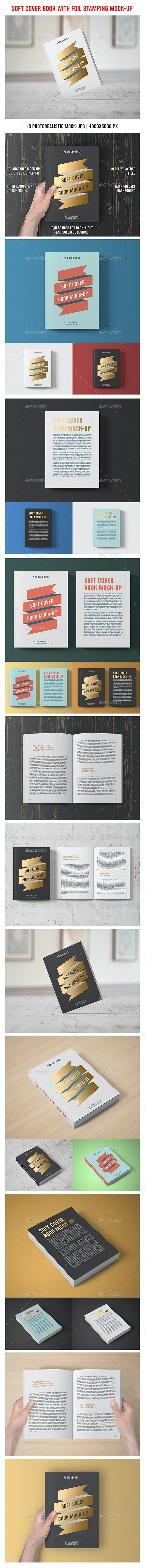 Soft Cover Book With Foil Stamping Mock-Up - Books Print
