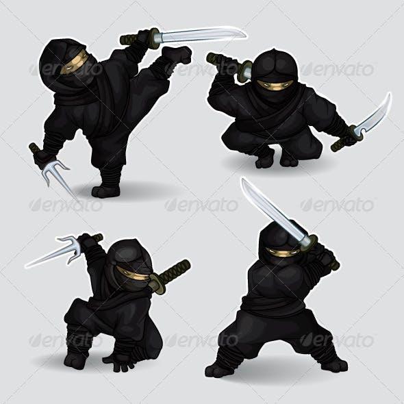 Set of ninja assassins