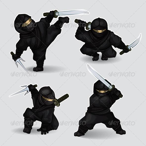 Set of ninja assassins - Characters Vectors