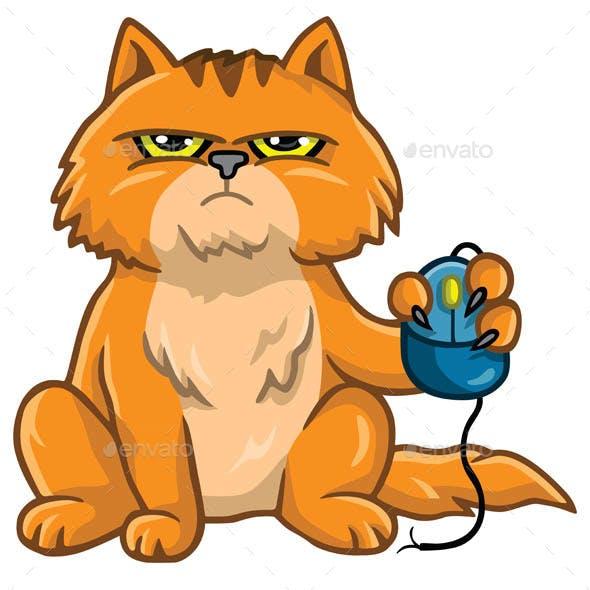 Cat Holding Computer Mouse Cartoon