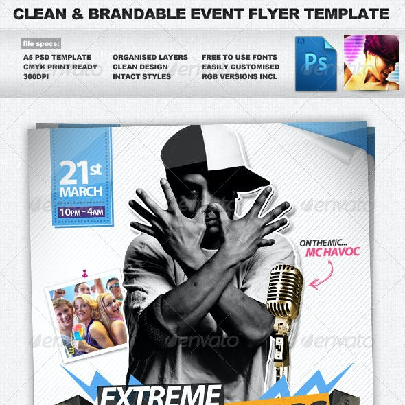 Drum&Bass - Clean Brandable A5 PSD Flyer Template