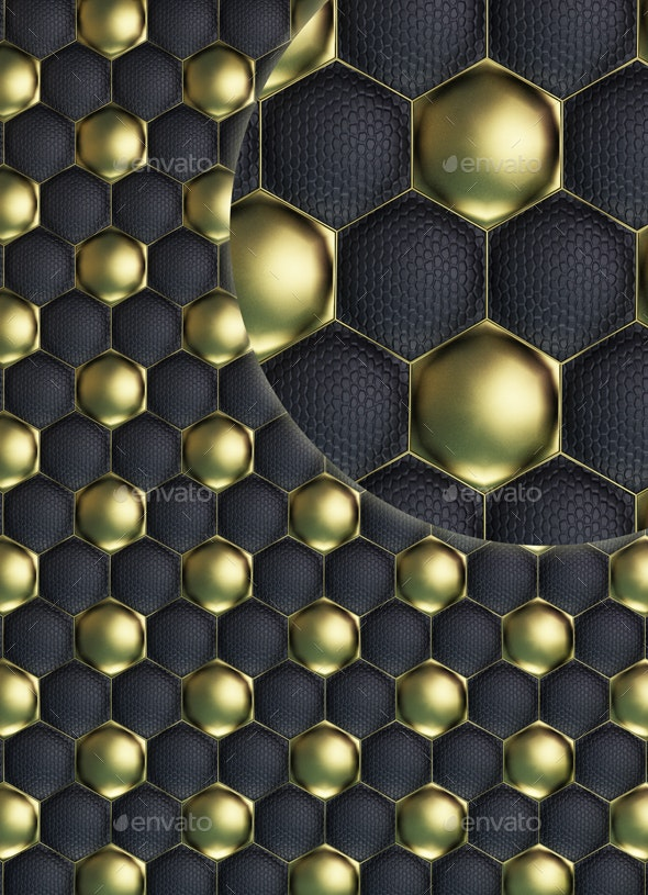 Black and Gold Football or Soccer Ball Quilted Leather Texture  - Textures
