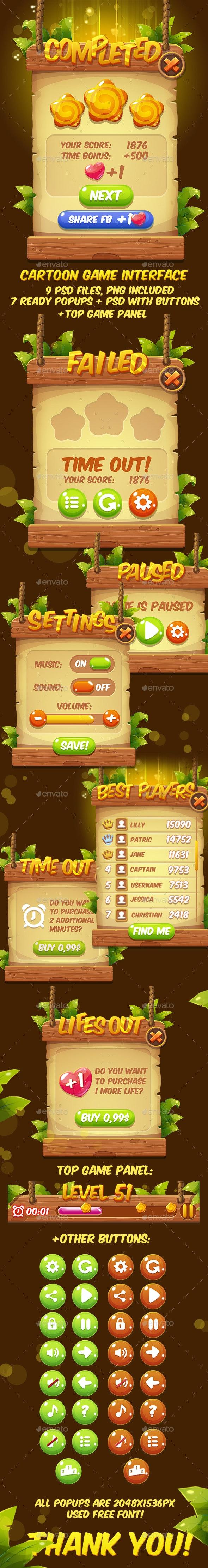 Fantasy Cartoon Game Interface - User Interfaces Game Assets