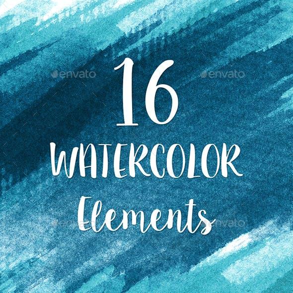 16 Blue Watercolor Design Elements