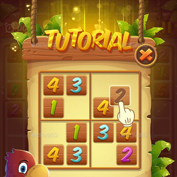 Cartoon Sudoku Puzzle Full Game Set with GUI