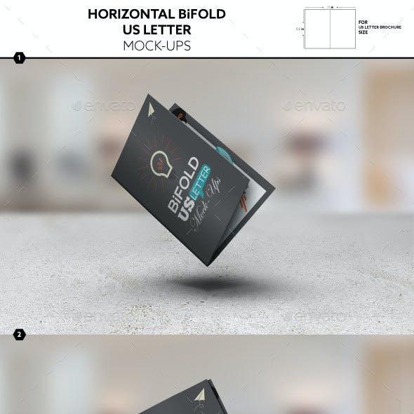 Horizontal Bifold Brochure US Letter Mockups