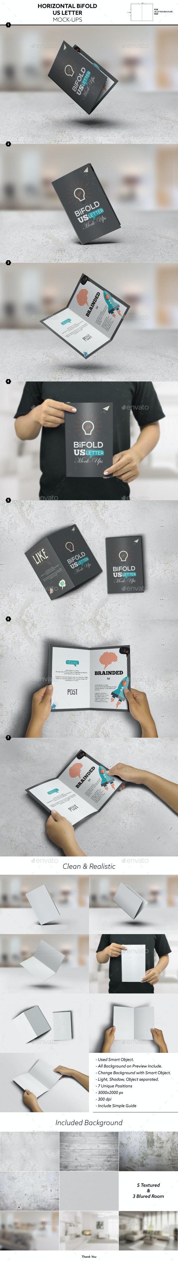 Horizontal Bifold Brochure US Letter Mockups - Brochures Print