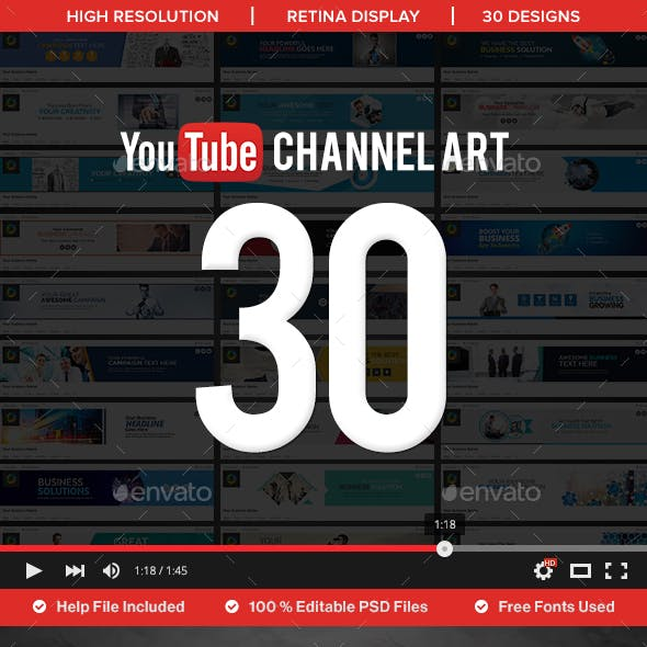 Youtube Channel Art - 30 Designs