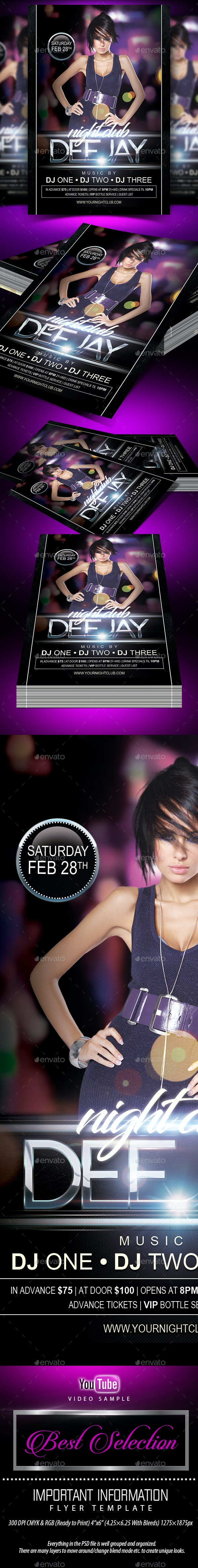 Nightclub Deejay  (Flyer Template 4x6) - Clubs & Parties Events