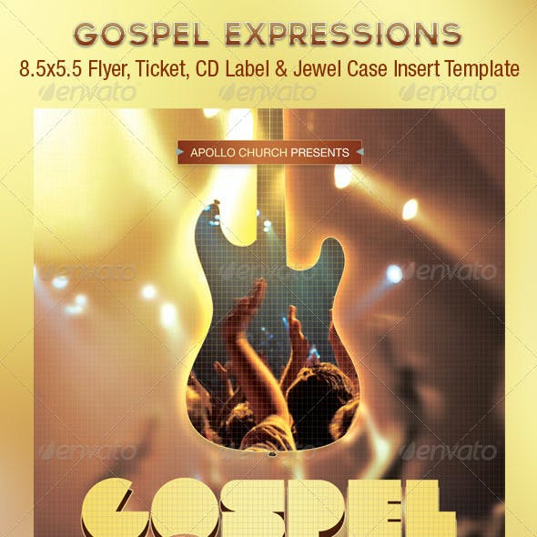 Gospel Expressions Church Flyer Ticket CD Template