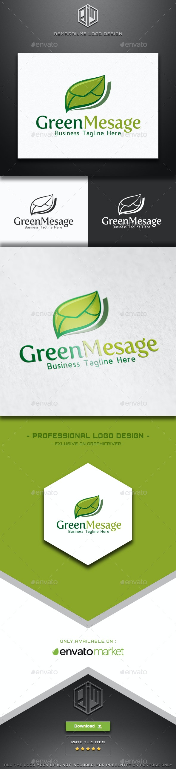 Green Mesage - Back to the Nature Logo - Nature Logo Templates