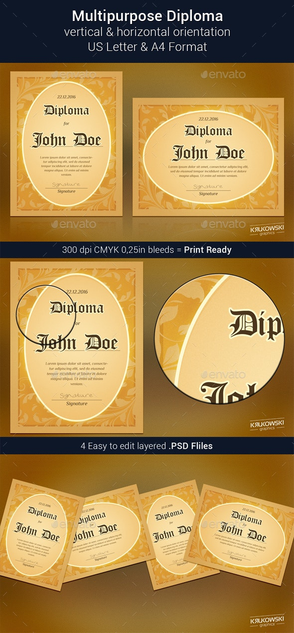 Retro Diploma Template - Certificates Stationery