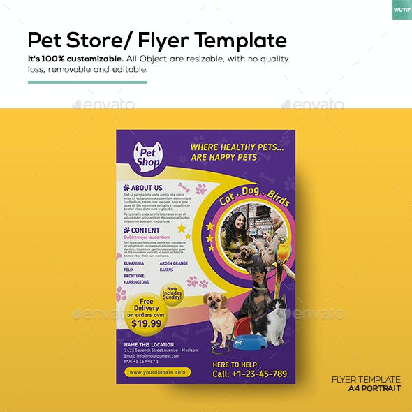 Puppies And Shop Flyer Template From Graphicriver
