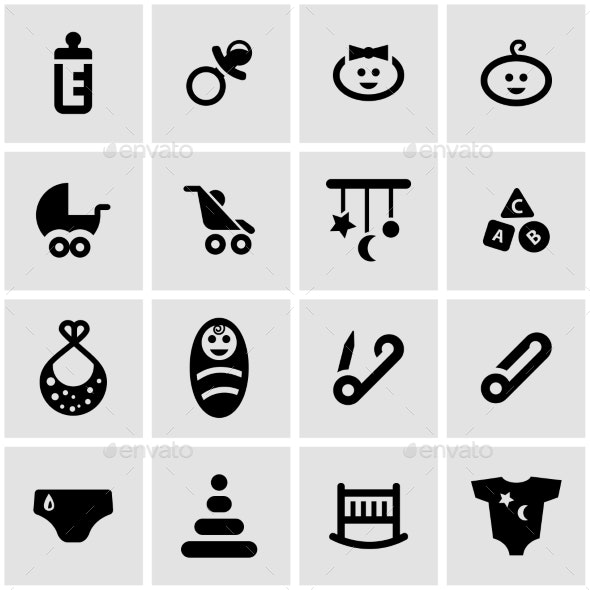 Vector Black Baby Icon Set - Icons
