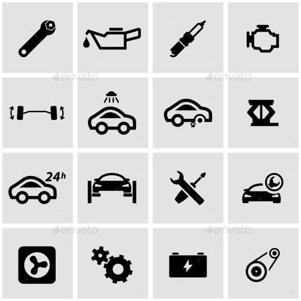 Vector Black Car Service Icon Set